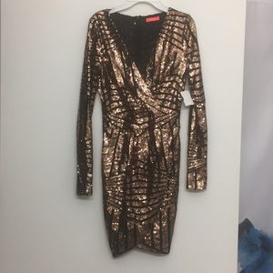 NWT Banjul gold and black sequin dress